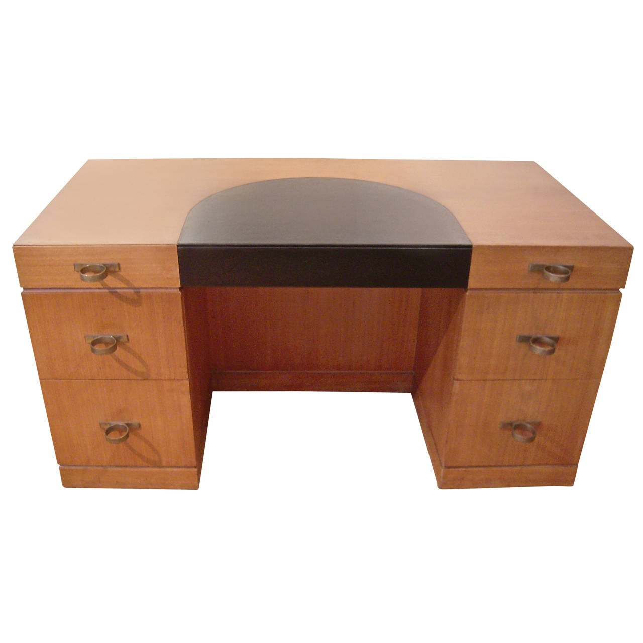 Art Deco Leather And Mahogany Desk With Fabulous Ring Drawer Pulls For