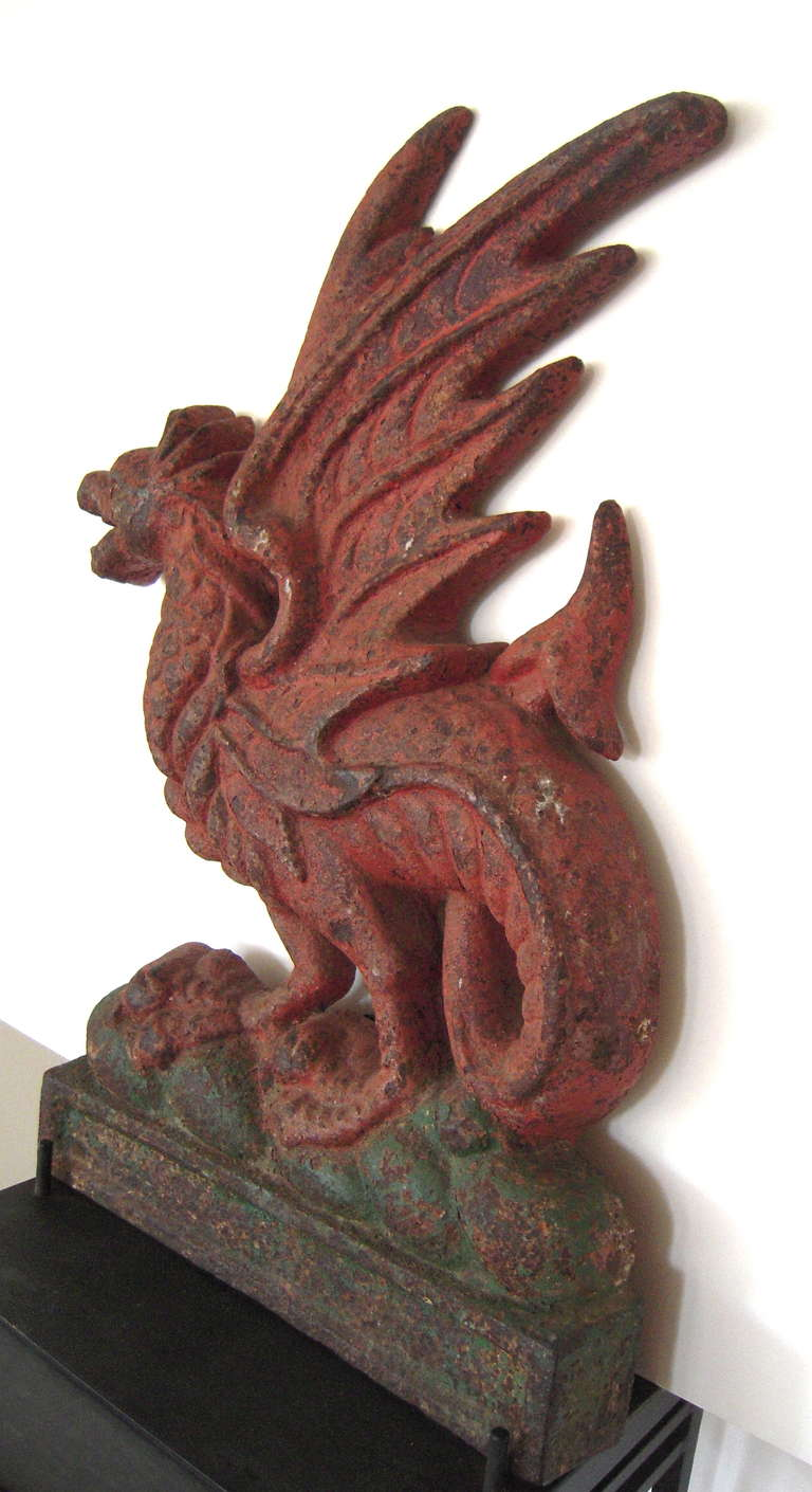 Large 19th Century Painted Cast Iron Welsh Dragon