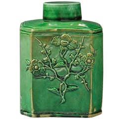 18th Century English Green Glazed Staffordshire Pottery Tea Caddy