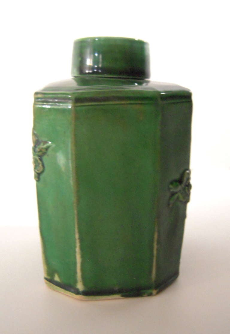 18th Century English Green Glazed Staffordshire Pottery Tea Caddy In Excellent Condition In Essex, MA