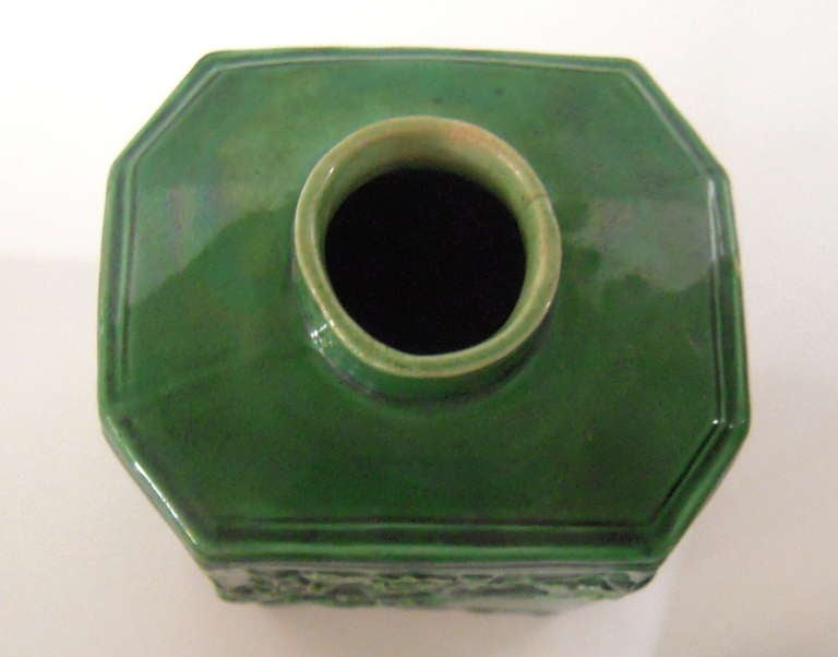 Earthenware 18th Century English Green Glazed Staffordshire Pottery Tea Caddy