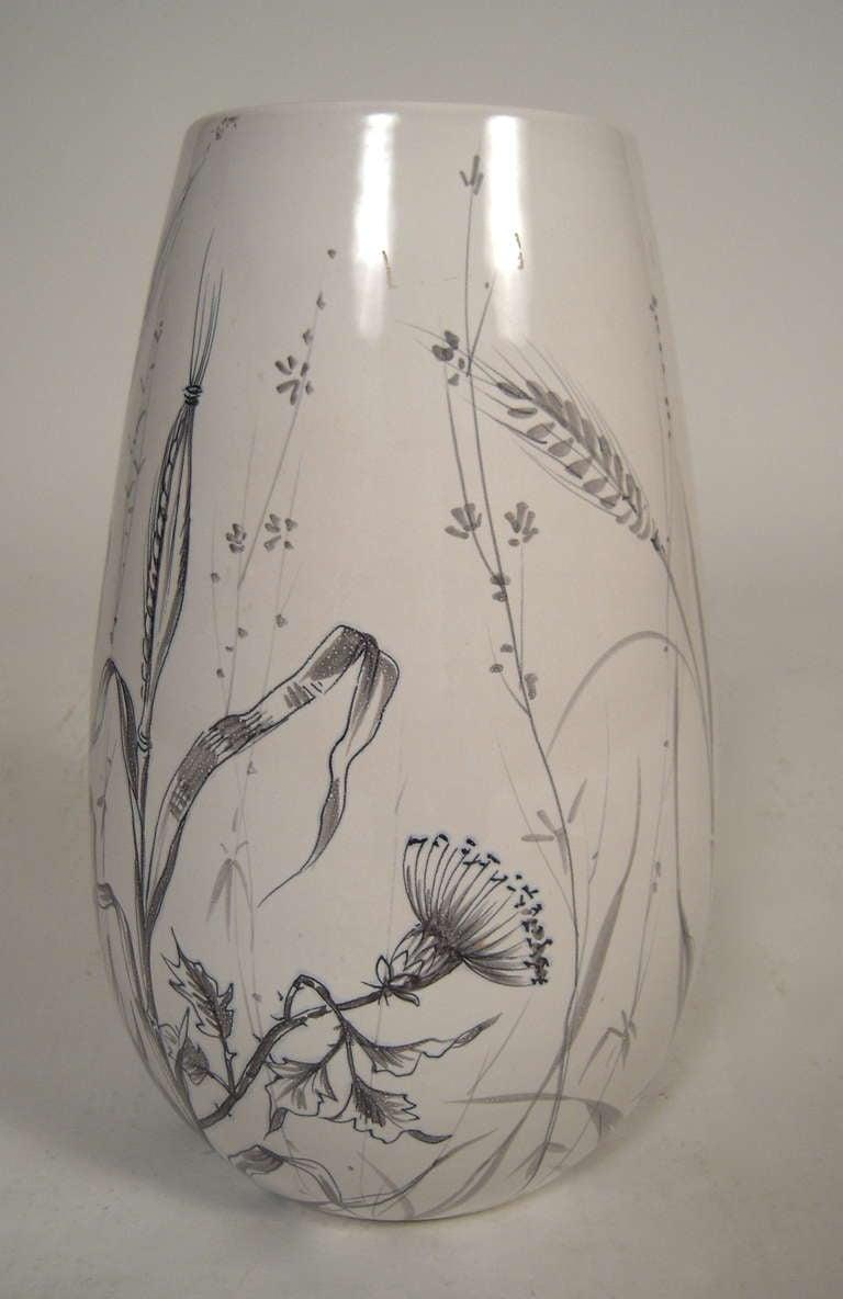 Large Italian Mid Century Hand Painted Pottery Vase At 1stdibs