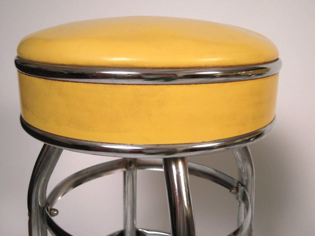 Set Of 4 1950s Metal And Yellow Swivel Bar Stools At 1stdibs