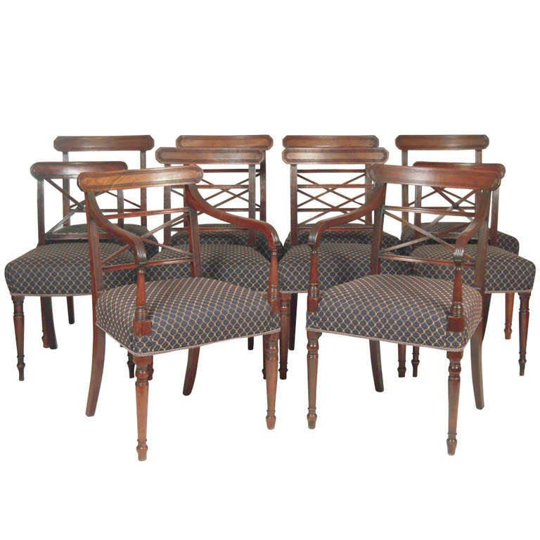 Set Of 10 English Regency Period Dining Chairs At 1stdibs