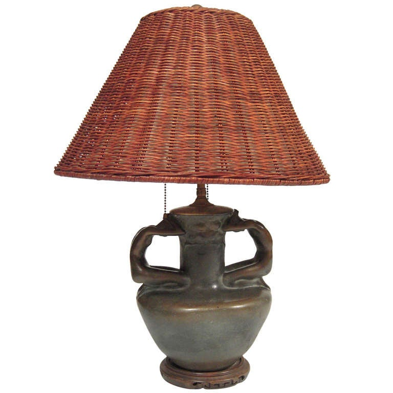 arts and crafts period figural pottery lamp at 1stdibs. Black Bedroom Furniture Sets. Home Design Ideas
