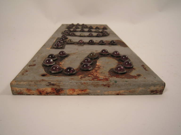 Stop Sign With Amethyst Glass Marble Reflectors At 1stdibs