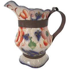 'Make Do' Repaired Staffordshire Gaudy Pitcher