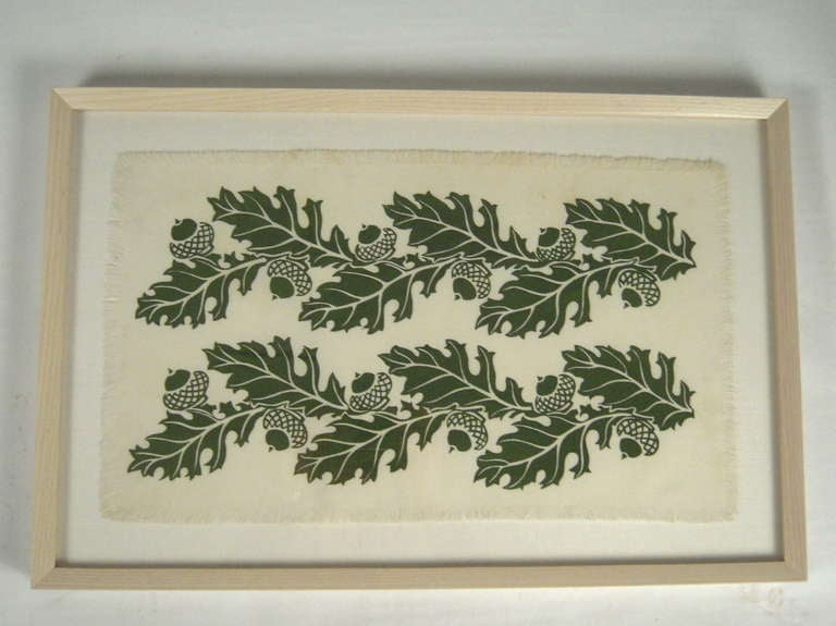 A VINTAGE FOLLY COVE DESIGNERS HAND BLOCK PRINTED TEXTILE, IN GREEN ON CREAM COLORED COTTON, IN THE 'OAK & ACORN' PATTERN DESIGNED BY MABEL GREER, American, circa 1950's. 