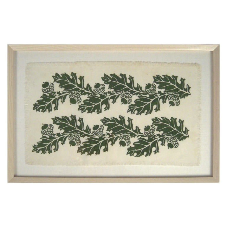 Oak and Acorns Hand Block Printed Folly Cove Print