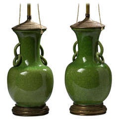 Pair of Apple Green Pottery Vase Lamps