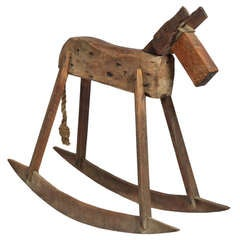 Large Folk Art Rocking Horse Sculpture
