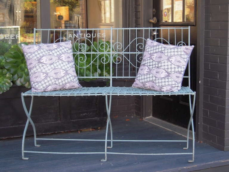 Blue Metal Garden Bench At 1stdibs