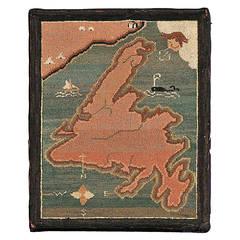 Newfoundland Map Hooked Grenfell Mat
