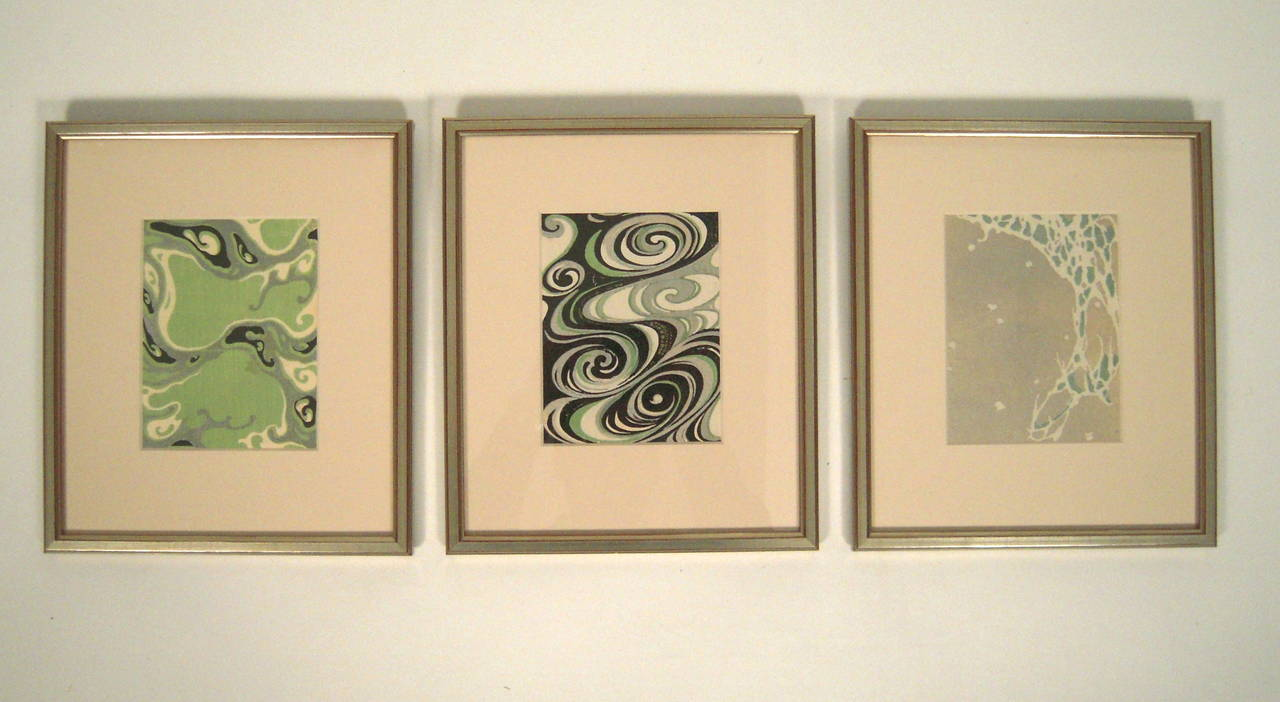Three Framed Japanese Kimono Fabric Design Prints at 1stdibs