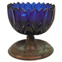 "19th Century Cobalt Glass ""Make Do"" Master Salt Cellar"