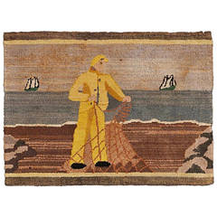 Folk Art Fisherman Hooked Grenfell Mat