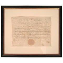 Rare 1801 Yale Diploma