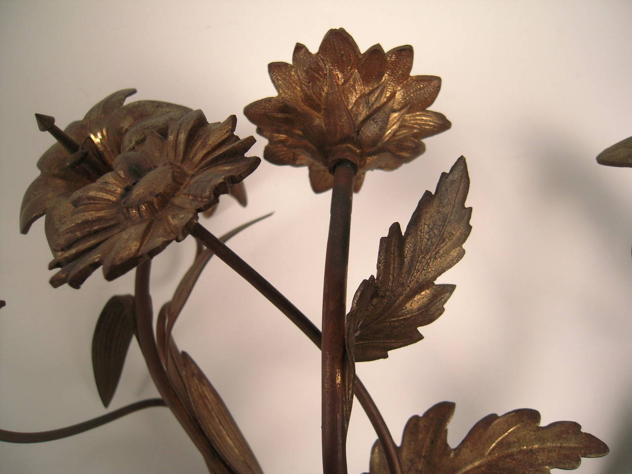 Pair of 19th Century Gilt Metal Flower Sconces at 1stdibs