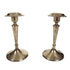 Pair of Arts and Crafts Period Sterling Silver Candlesticks