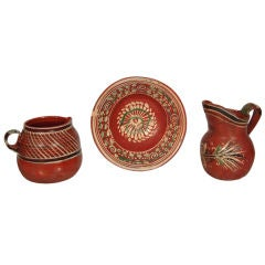 Vintage Mexican 'Bandera' Pottery Pitchers and Bowl