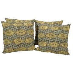 Hand Block Printed Green and Yellow Fish Pillows