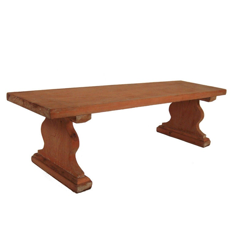 Pine trestle bench or coffee table at 1stdibs for Trestle coffee table