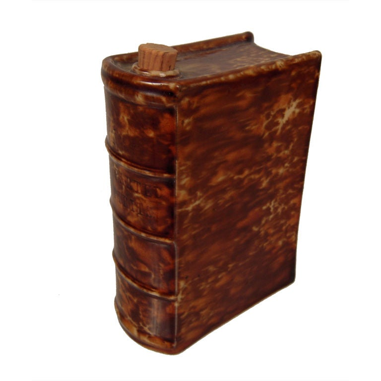 Rockingham Pottery \'Departed Spirits\' Book Form Flask. c. 1880s at ...