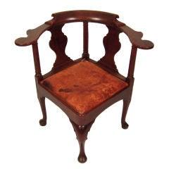 Unusual, Bold  18th  English Corner Chair