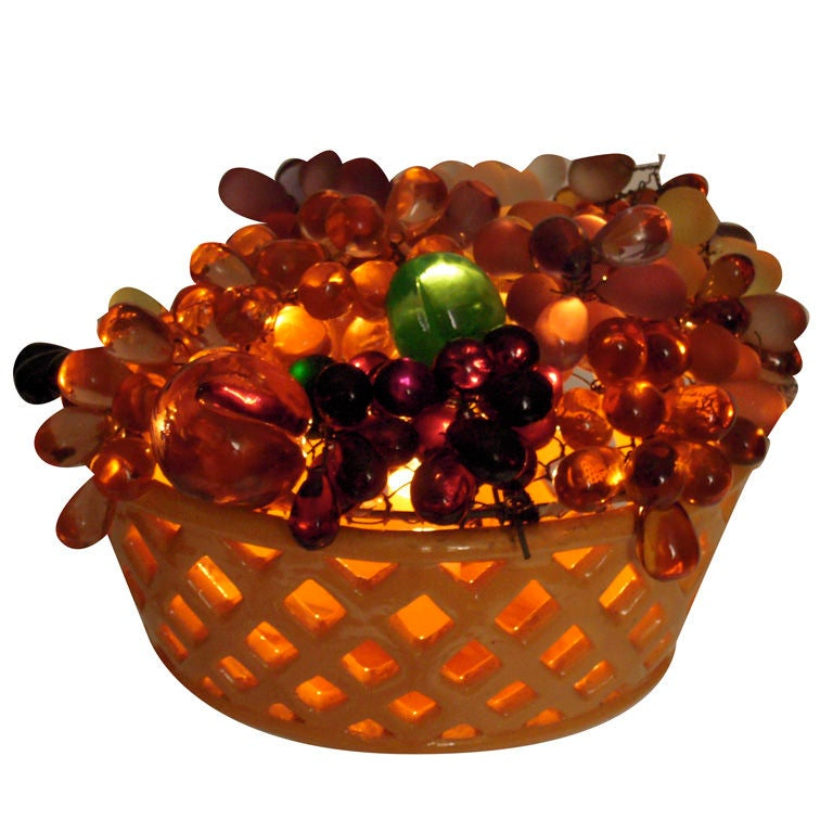 Whimsical French Ceramic And Glass Fruit Basket