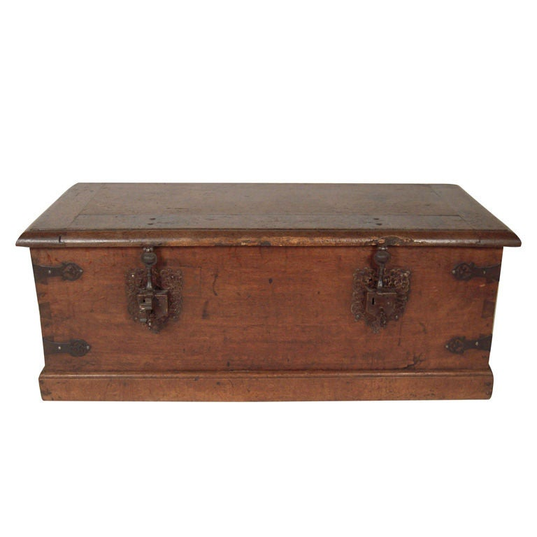 European Oak And Wrought Iron Strong Box Coffee Table At 1stdibs