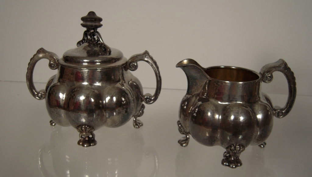 Gold Plate Arts and Crafts Period Silver Tea and Coffee Service  For Sale