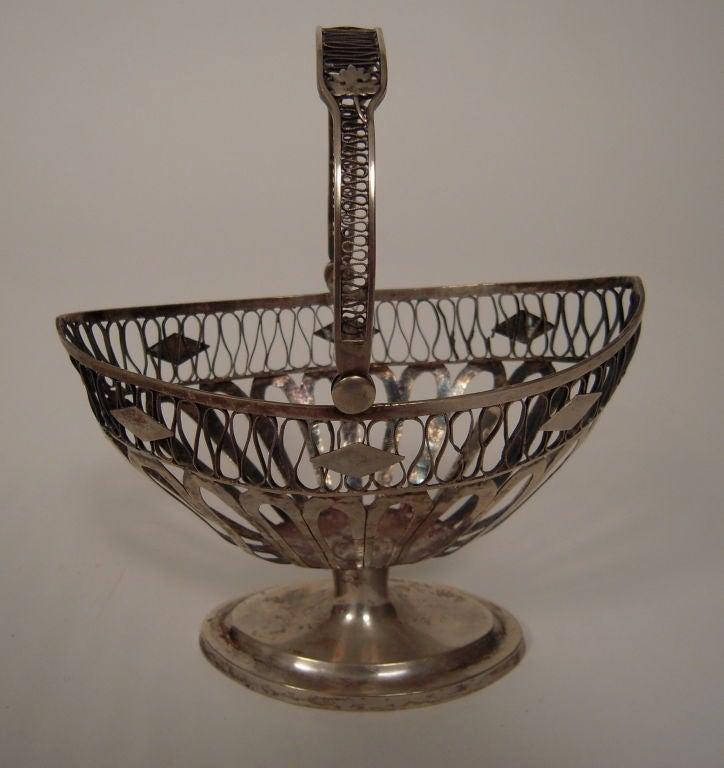Swiss European Silver Neoclassical Basket For Sale