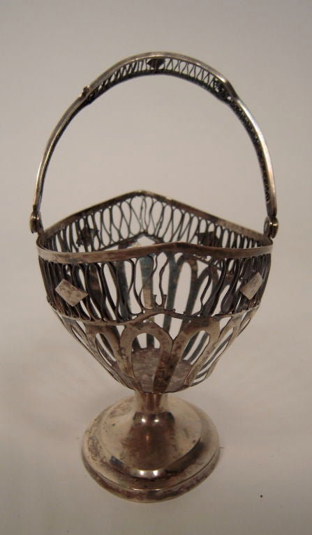 19th Century European Silver Neoclassical Basket For Sale