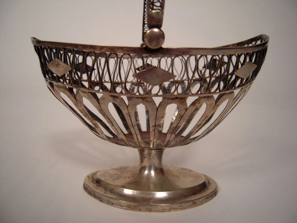 European Silver Neoclassical Basket For Sale 1