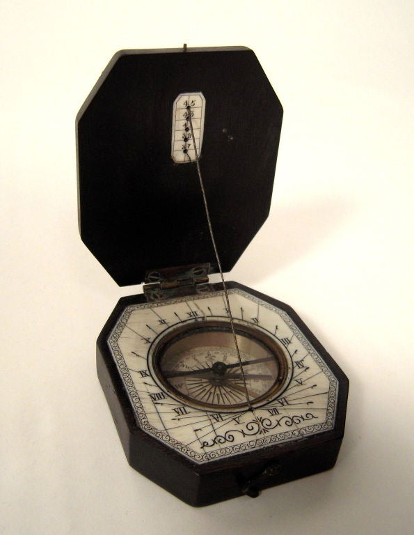 19th Century Baroque Style Pocket Compass and Sundial 2