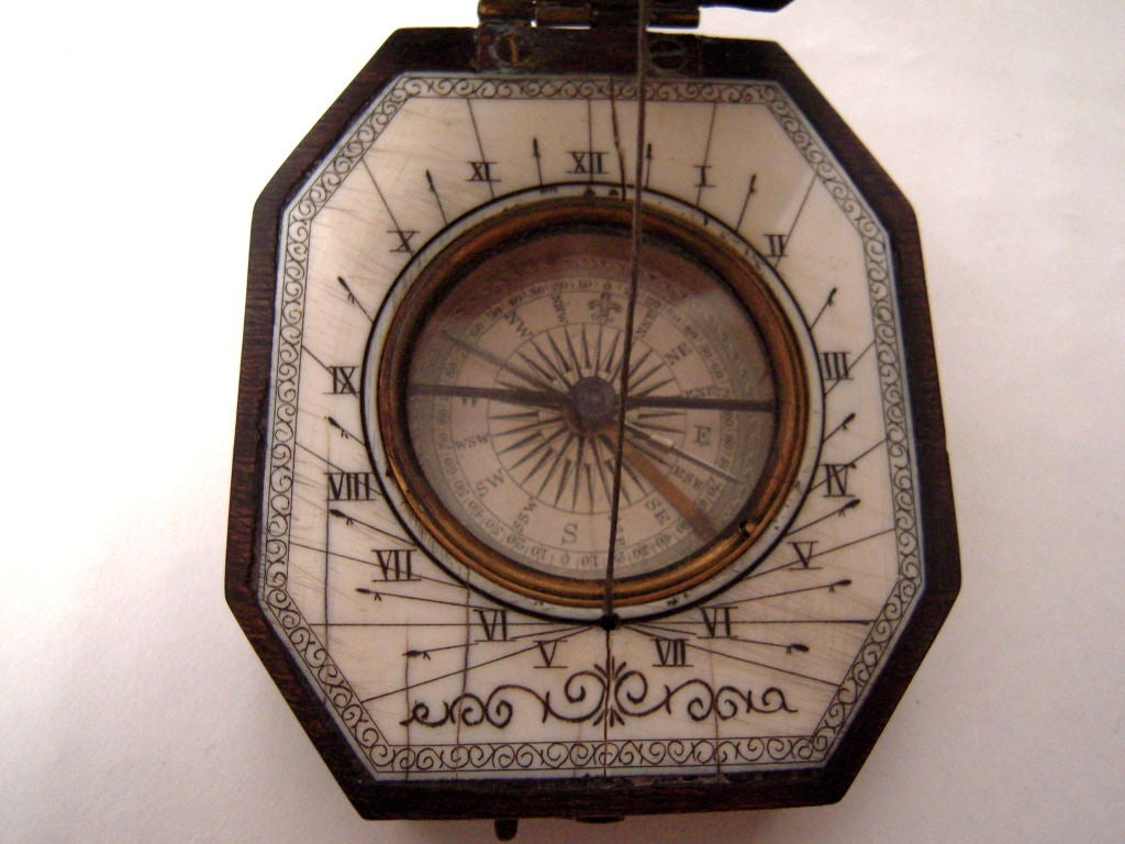 19th Century Baroque Style Pocket Compass and Sundial 3