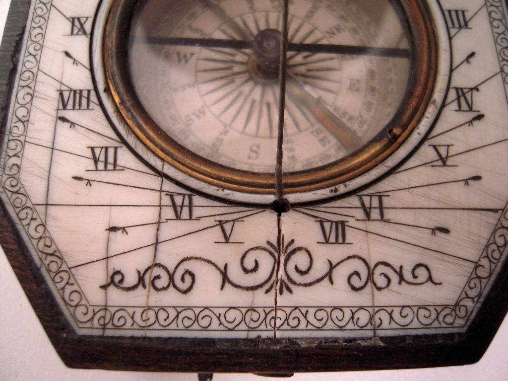 19th Century Baroque Style Pocket Compass and Sundial 5