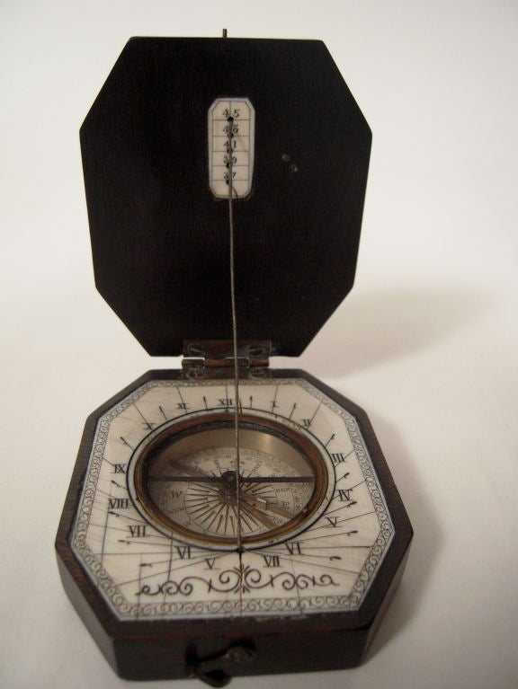 19th Century Baroque Style Pocket Compass and Sundial 8