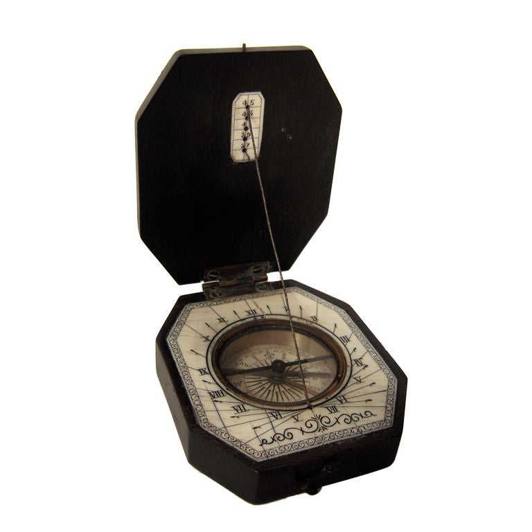 19th Century Baroque Style Pocket Compass and Sundial 1