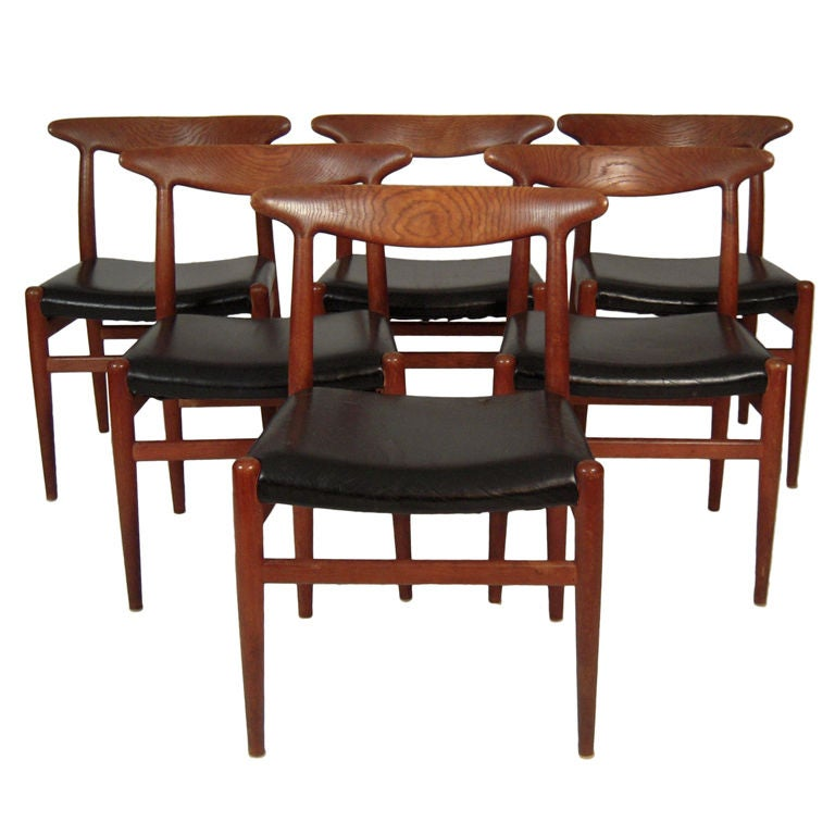 Set of 6 hans wegner dining chairs at 1stdibs for Wegner dining chair