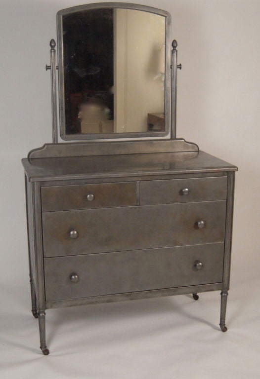 Steel Sheraton Style Dresser With Mirror Circa 1930s At