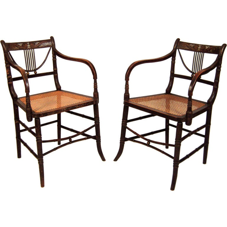 Pair Of English Regency Period Painted Armchairs At 1stdibs