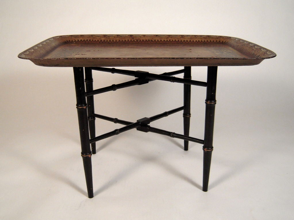 19th century english painted tole tray on stand coffee for Stand up coffee table