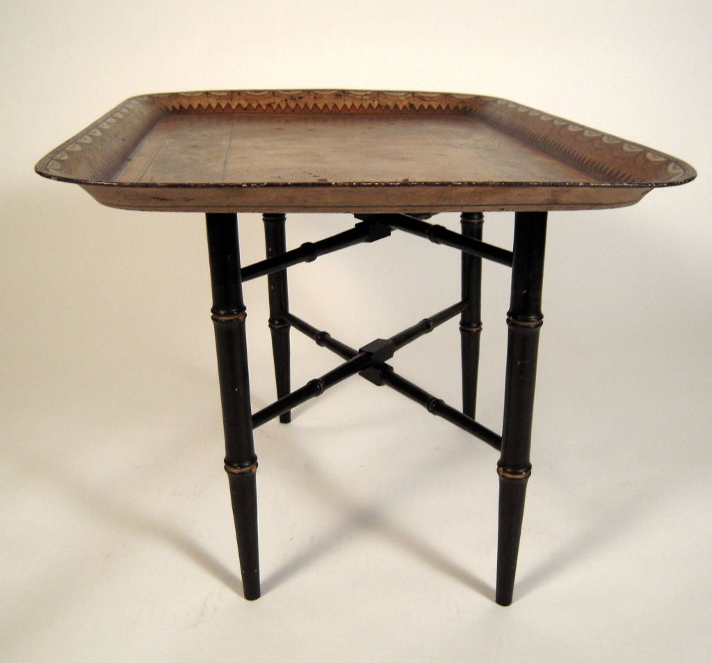 19th Century English Painted Tole Tray On Stand Coffee Table At 1stdibs