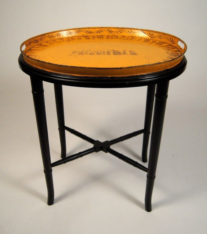 Wood A 19th Century French Yellow  Tole Tray Table