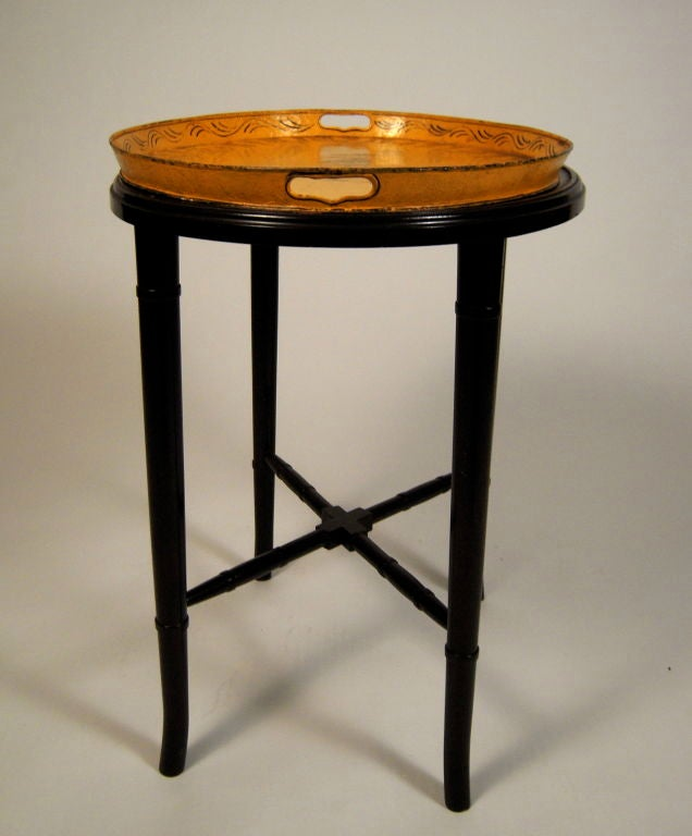 A 19th Century French Yellow  Tole Tray Table 2