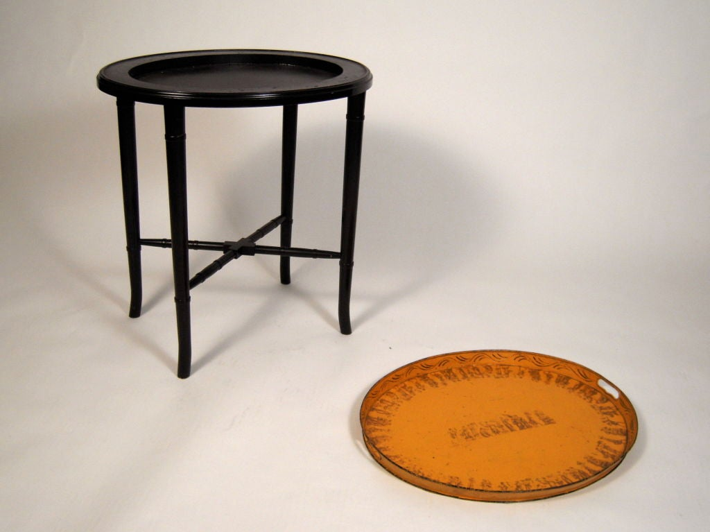 A 19th Century French Yellow  Tole Tray Table 4
