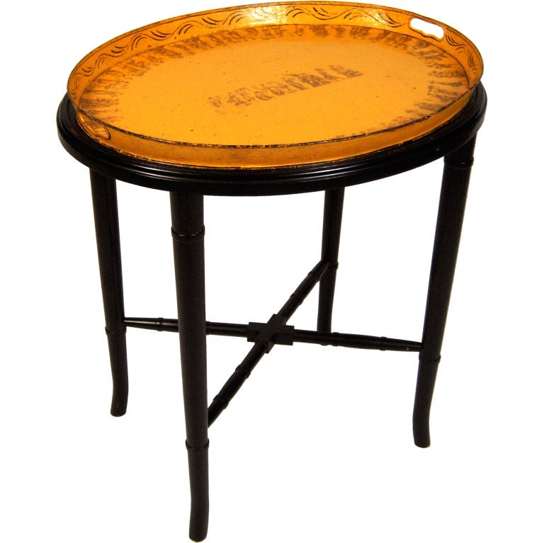 A 19th Century French Yellow  Tole Tray Table