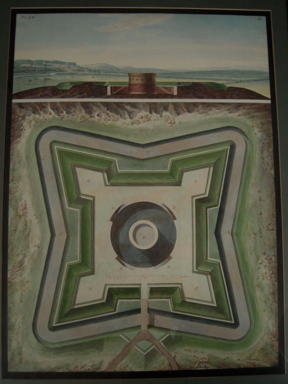 Rare 18th century star fort architectural drawing at 1stdibs for Architectural drawings for sale