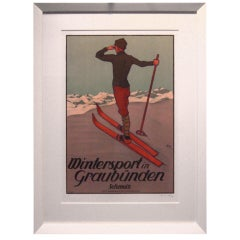 Fine Swiss Hand Lithograph Ski Poster (Now Framed)